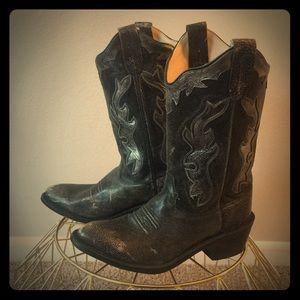 Old West size 6-6.5 silver and black cowboy boots
